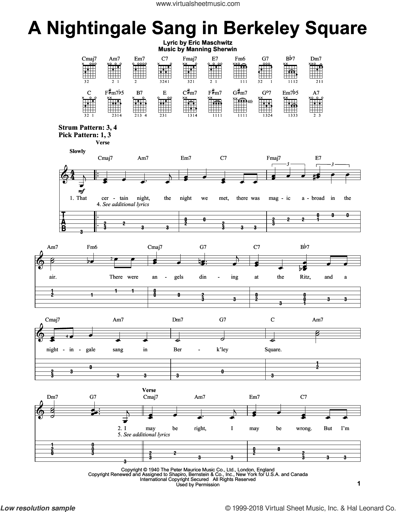 A Nightingale Sang In Berkeley Square sheet music for guitar solo (easy tablature) by Manning Sherwin and Manhattan Transfer. Score Image Preview.