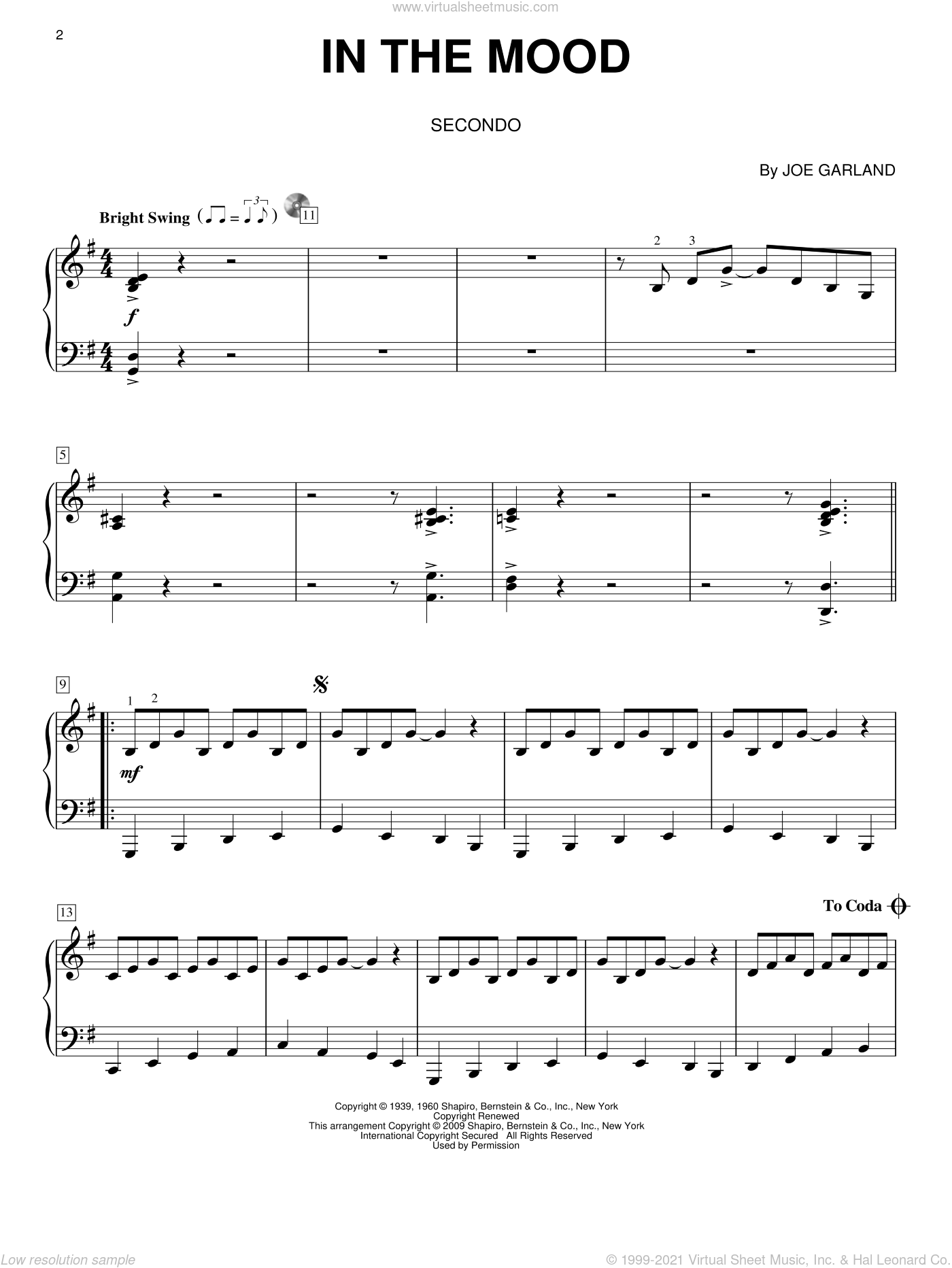 In The Mood sheet music for piano four hands by Glenn Miller & His Orchestra and Joe Garland, intermediate. Score Image Preview.