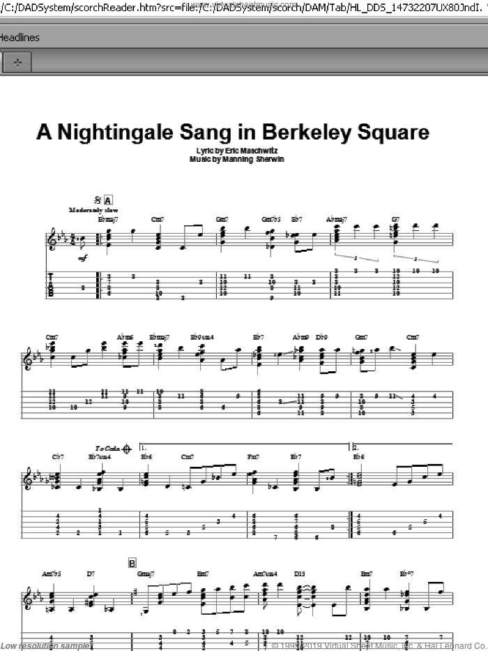 A Nightingale Sang In Berkeley Square sheet music for guitar solo by Manhattan Transfer, intermediate