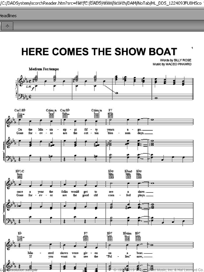 Here Comes The Show Boat sheet music for voice, piano or guitar by Billy Rose