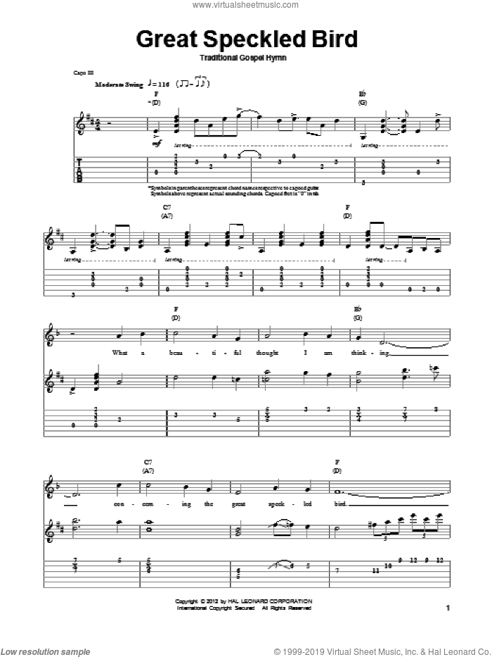 Great Speckled Bird sheet music for guitar (tablature, play-along) by Traditional Gospel Hymn. Score Image Preview.