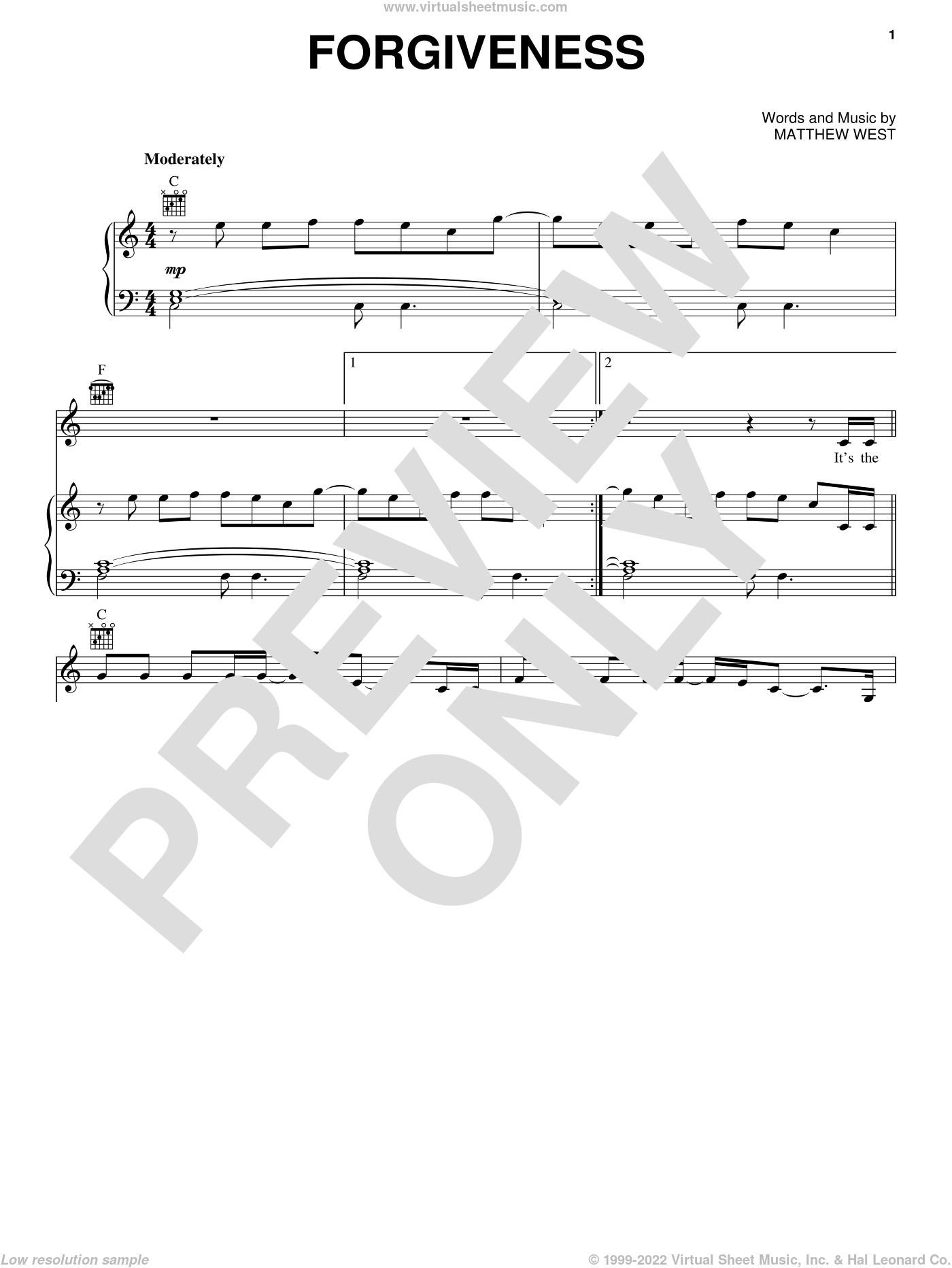 Forgiveness sheet music for voice, piano or guitar by Matthew West, intermediate skill level
