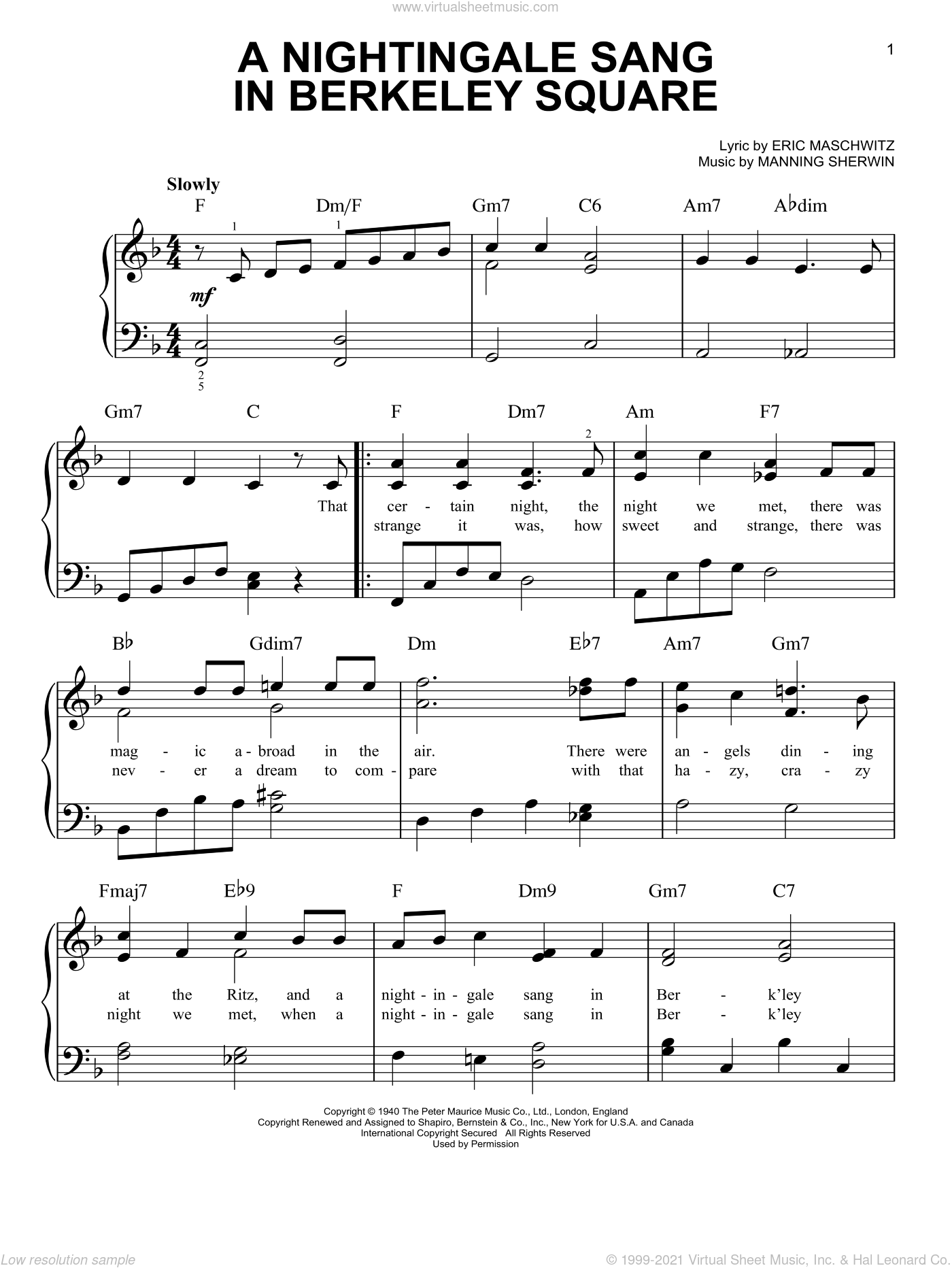 A Nightingale Sang In Berkeley Square sheet music for piano solo by Manhattan Transfer, Eric Maschwitz and Manning Sherwin, easy skill level