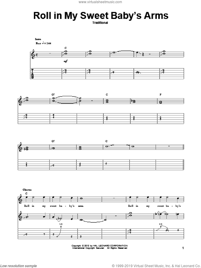 Roll In My Sweet Baby's Arms sheet music for guitar (tablature, play-along) by Lester Flatt. Score Image Preview.