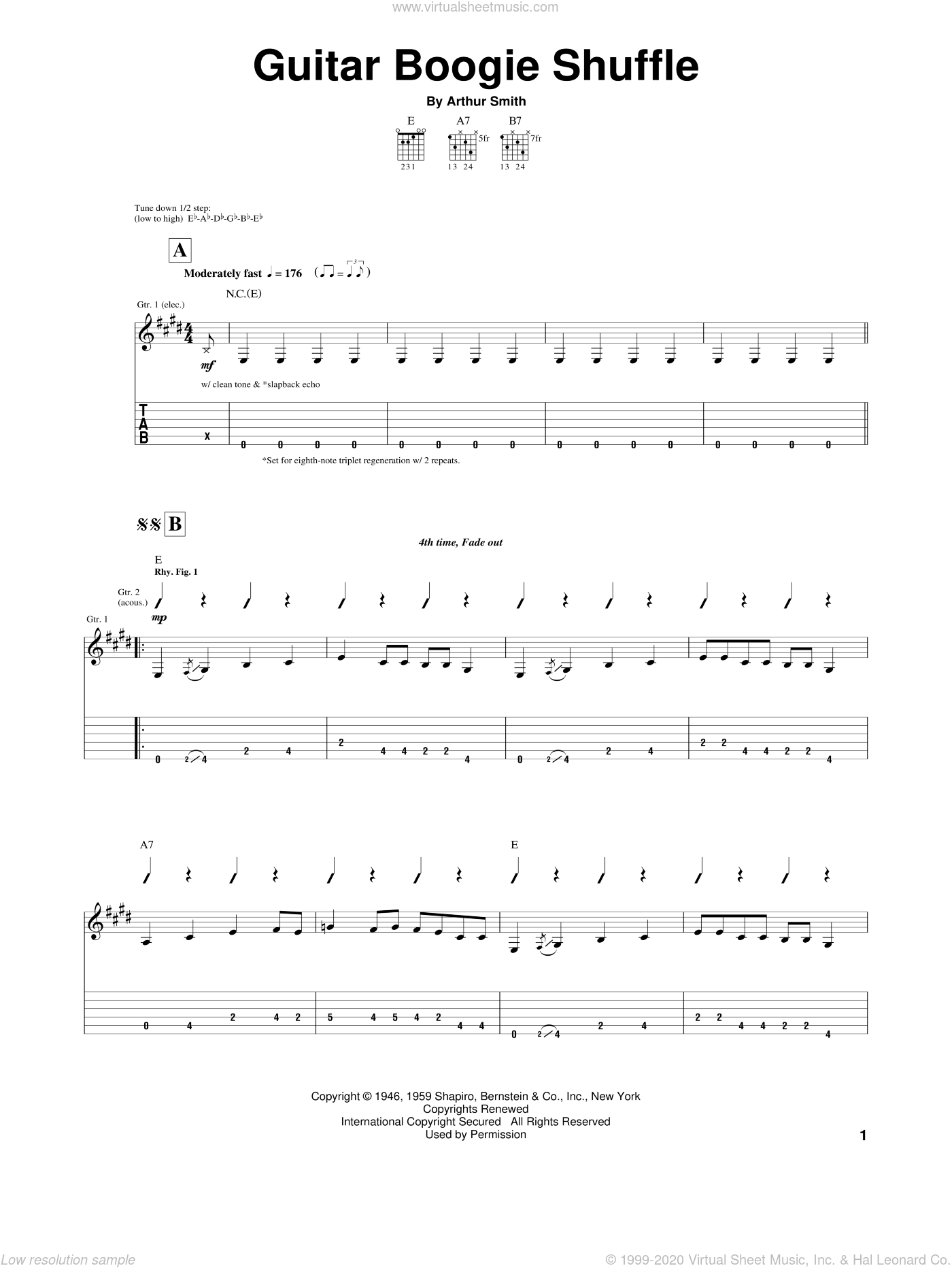 Guitar Boogie Shuffle sheet music for guitar (tablature) by The Virtues. Score Image Preview.