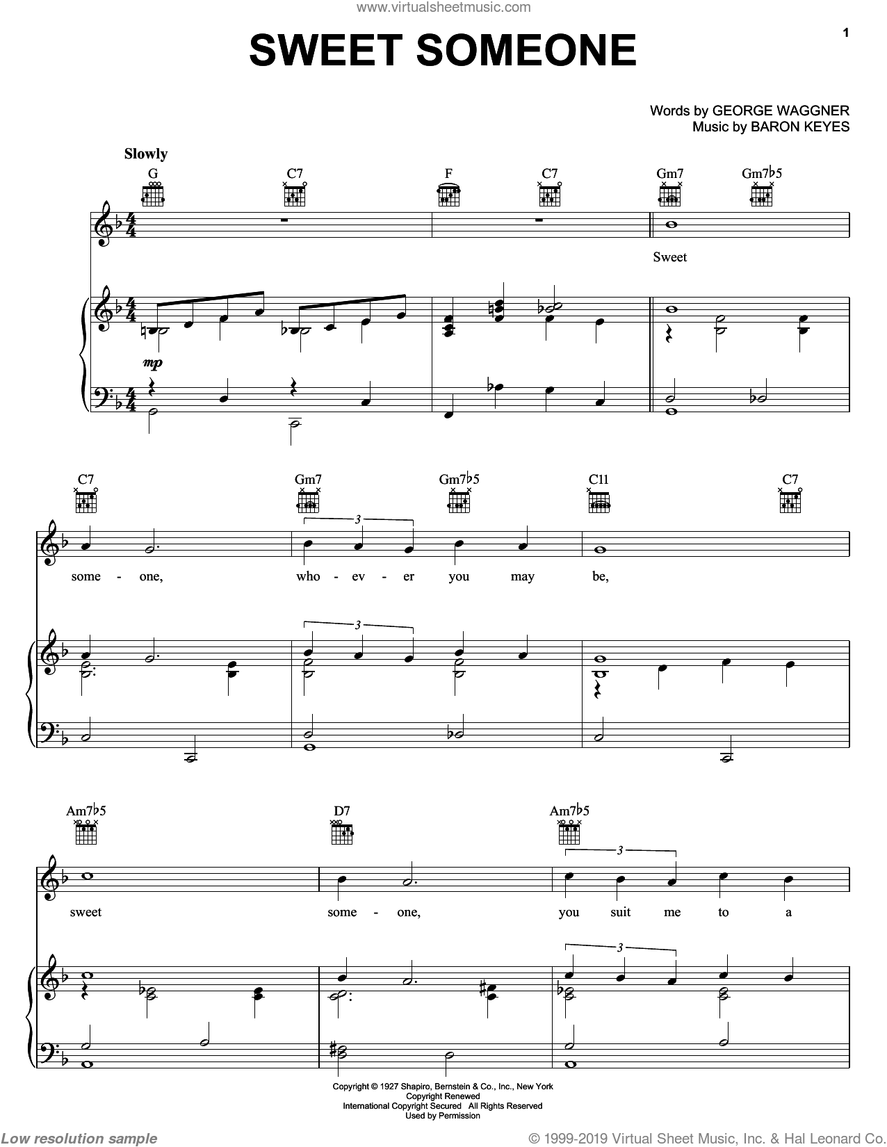 Sweet Someone sheet music for voice, piano or guitar by Baron Keyes and George Waggner, intermediate skill level
