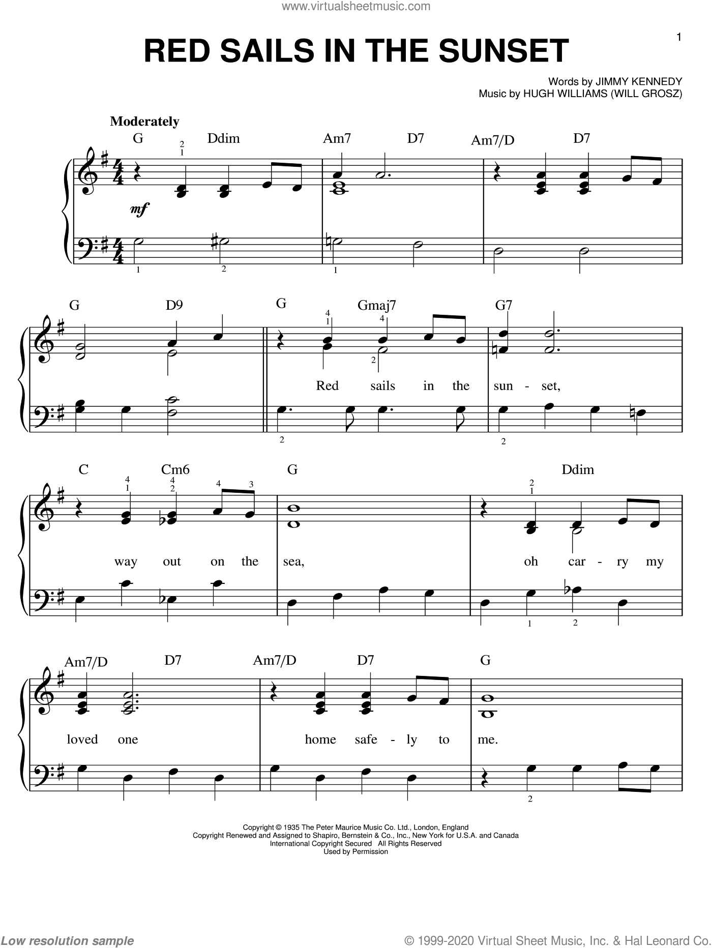 Red Sails In The Sunset sheet music for piano solo by Hugh Williams and Jimmy Kennedy, easy skill level