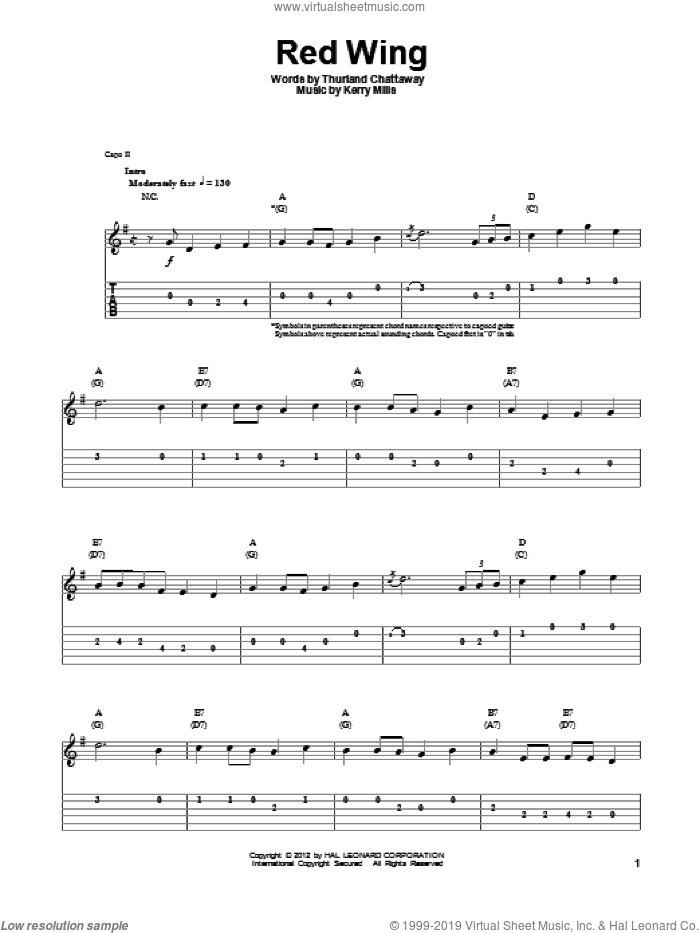 Red Wing sheet music for guitar (tablature, play-along) by Thurland Chattaway and Kerry Mills, intermediate guitar (tablature, play-along). Score Image Preview.