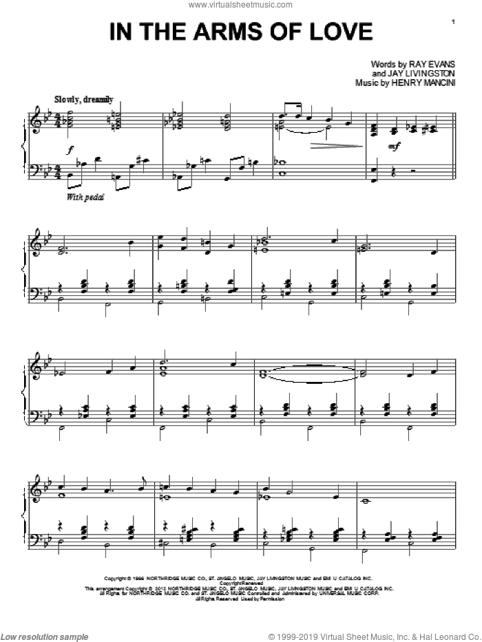 In The Arms Of Love sheet music for piano solo by Henry Mancini, Jay Livingston and Ray Evans, intermediate skill level