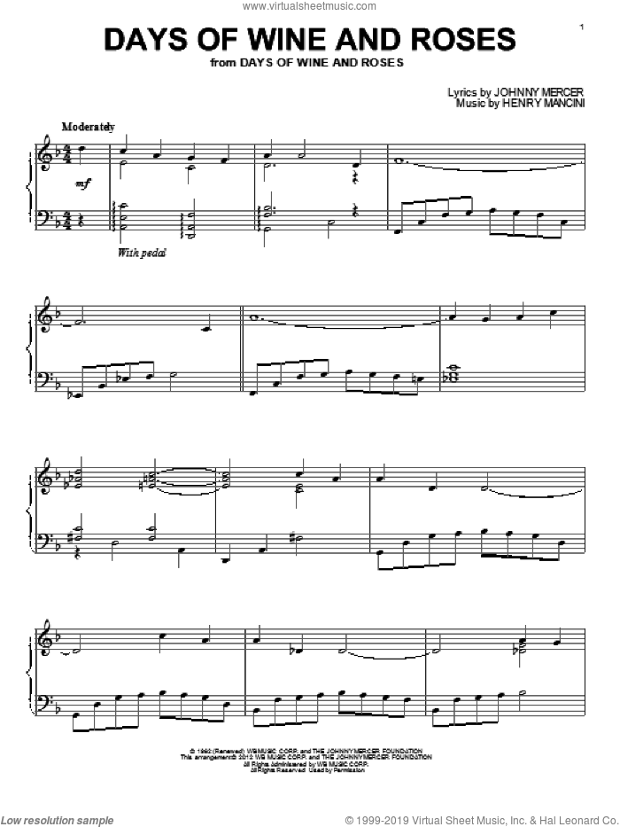Days Of Wine And Roses sheet music for piano solo by Henry Mancini and Johnny Mercer, intermediate skill level