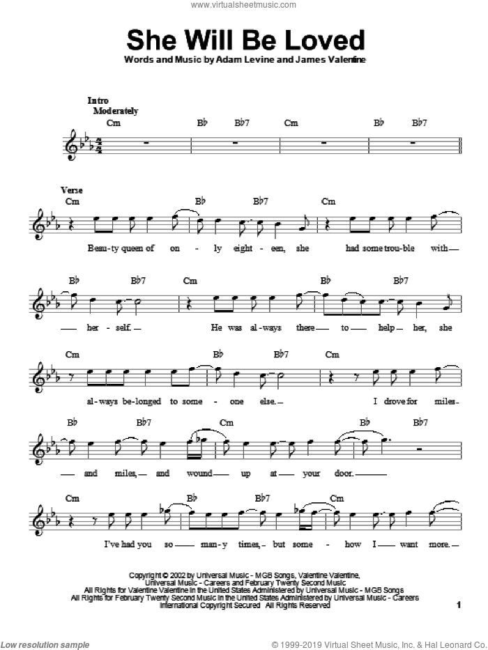 She Will Be Loved sheet music for voice solo by Maroon 5, Adam Levine and James Valentine, intermediate skill level