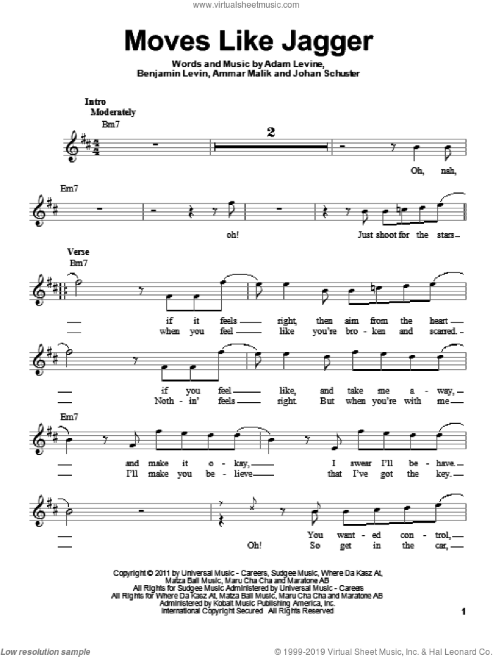 Moves Like Jagger sheet music for voice solo by Maroon 5, Adam Levine, Ammar Malk and Benjamin Levin, intermediate skill level