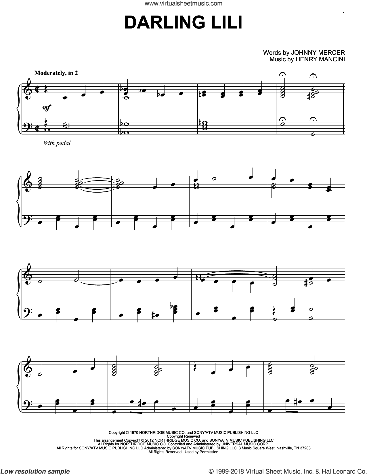 Darling Lili sheet music for piano solo by Henry Mancini and Johnny Mercer, intermediate skill level