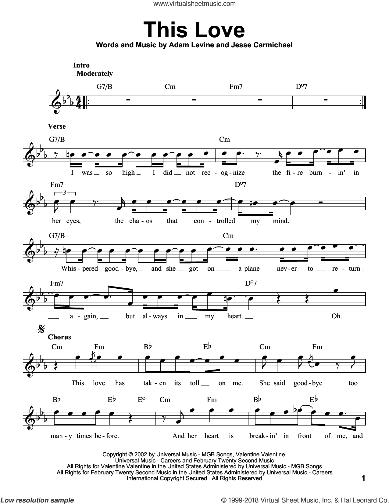 This Love sheet music for voice solo by Maroon 5, Adam Levine and Jesse Carmichael, intermediate skill level