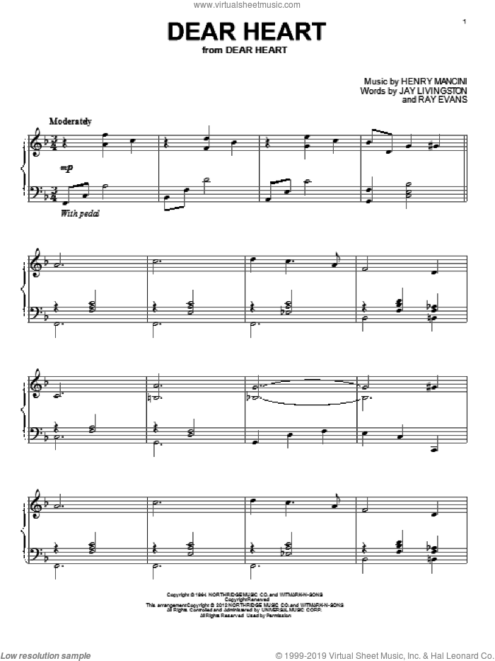 Dear Heart sheet music for piano solo by Ray Evans, Henry Mancini and Jay Livingston. Score Image Preview.