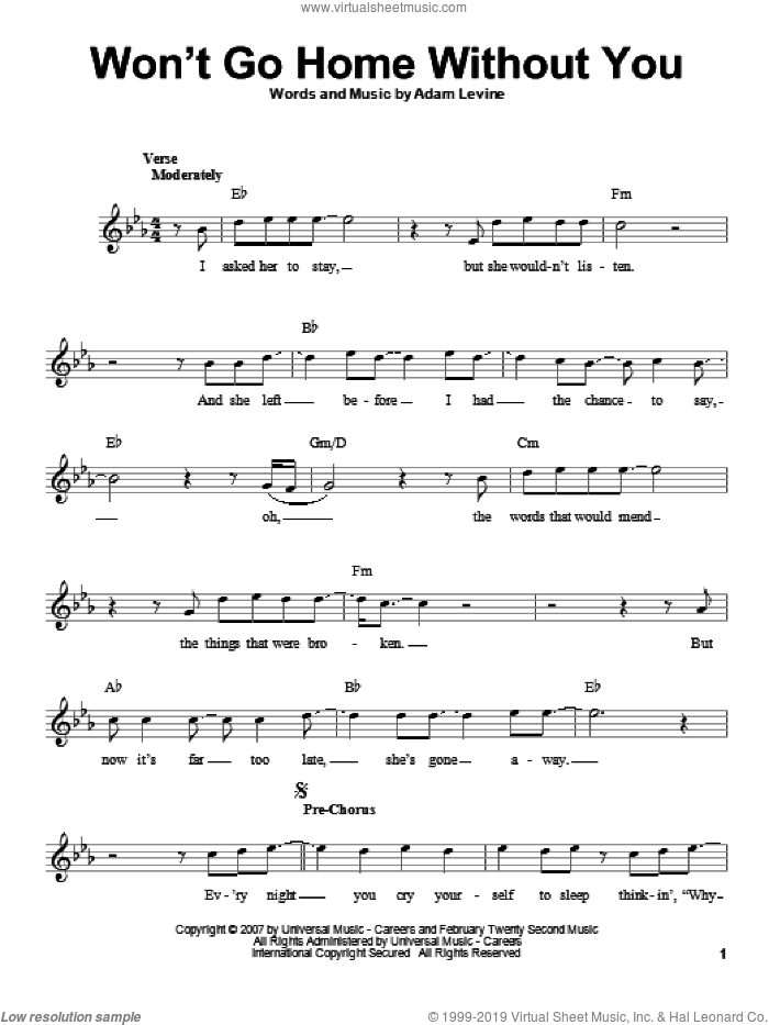 Won't Go Home Without You sheet music for voice solo by Maroon 5 and Adam Levine, intermediate. Score Image Preview.