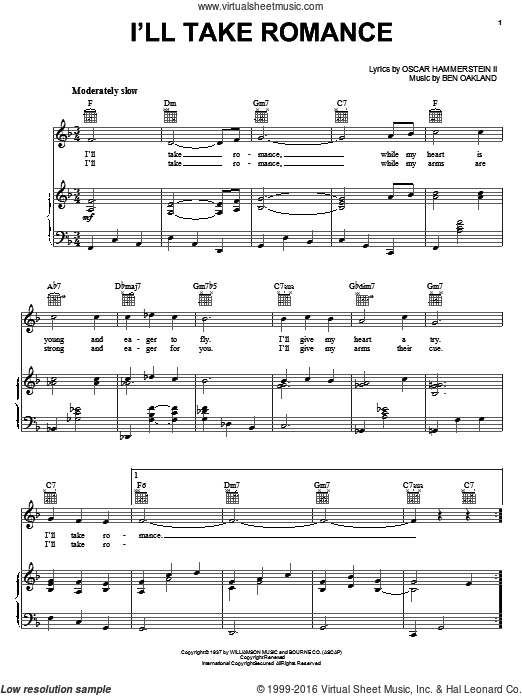 I'll Take Romance sheet music for voice, piano or guitar by Oscar II Hammerstein and Ben Oakland. Score Image Preview.