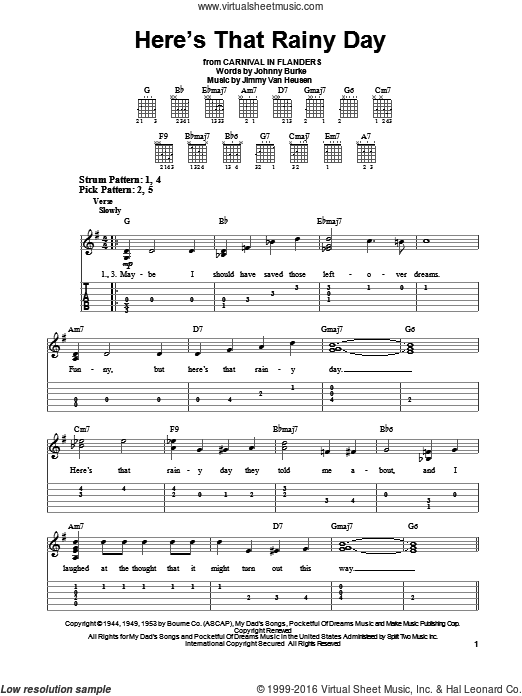 Here's That Rainy Day sheet music for guitar solo (easy tablature) by John Burke