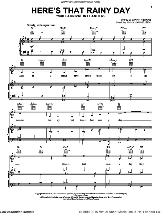 Here's That Rainy Day sheet music for voice, piano or guitar by Frank Sinatra, Jimmy Van Heusen and John Burke, intermediate. Score Image Preview.