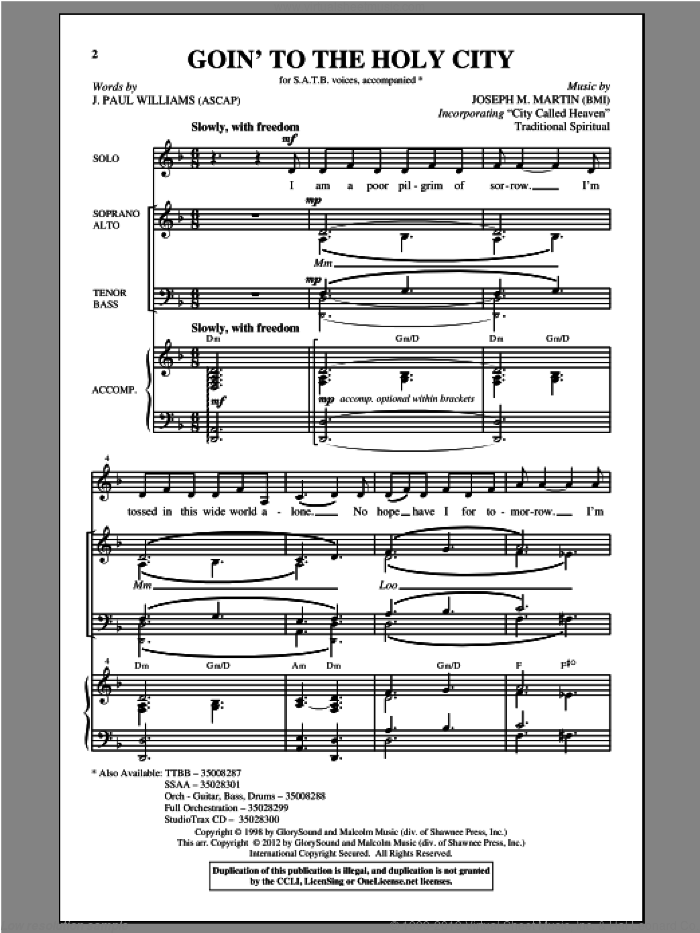 Goin' To The Holy City sheet music for choir and piano (SATB) by Joseph M. Martin