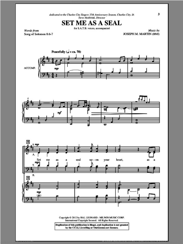 Set Me As A Seal sheet music for choir and piano (SATB) by Joseph M. Martin
