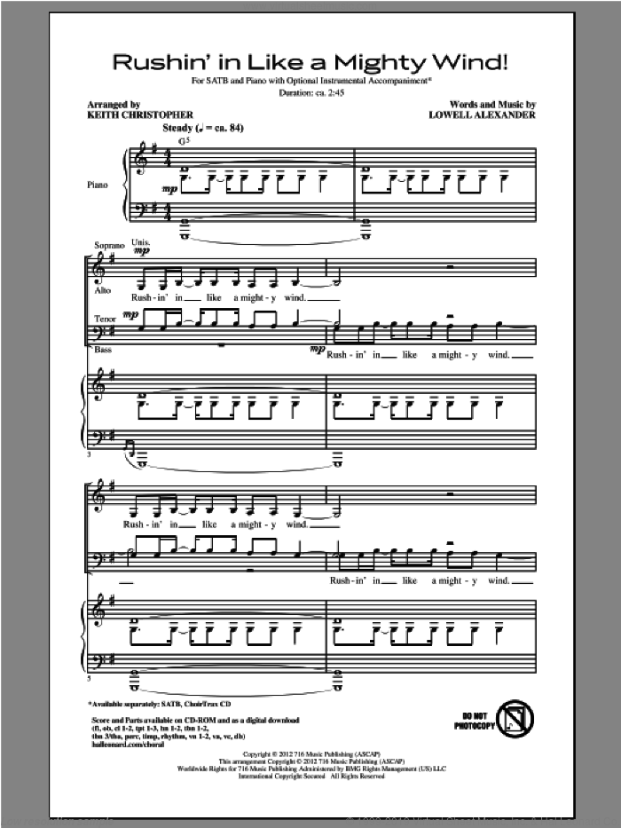 Rushin' In Like A Mighty Wind! sheet music for choir (SATB) by Lowell Alexander and Keith Christopher, intermediate choir (SATB). Score Image Preview.