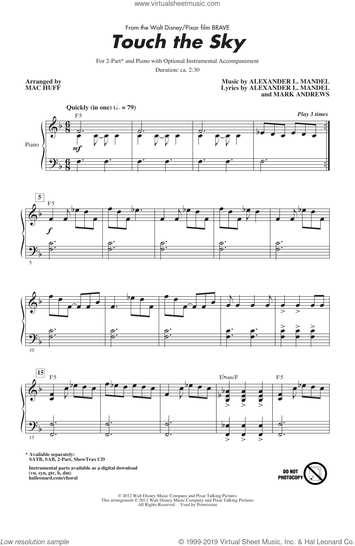 Touch The Sky (From Brave) (arr. Mac Huff) sheet music for choir (2-Part) by Julie Fowlis, Alexander L. Mandel, Mark Andrews and Mac Huff, intermediate duet