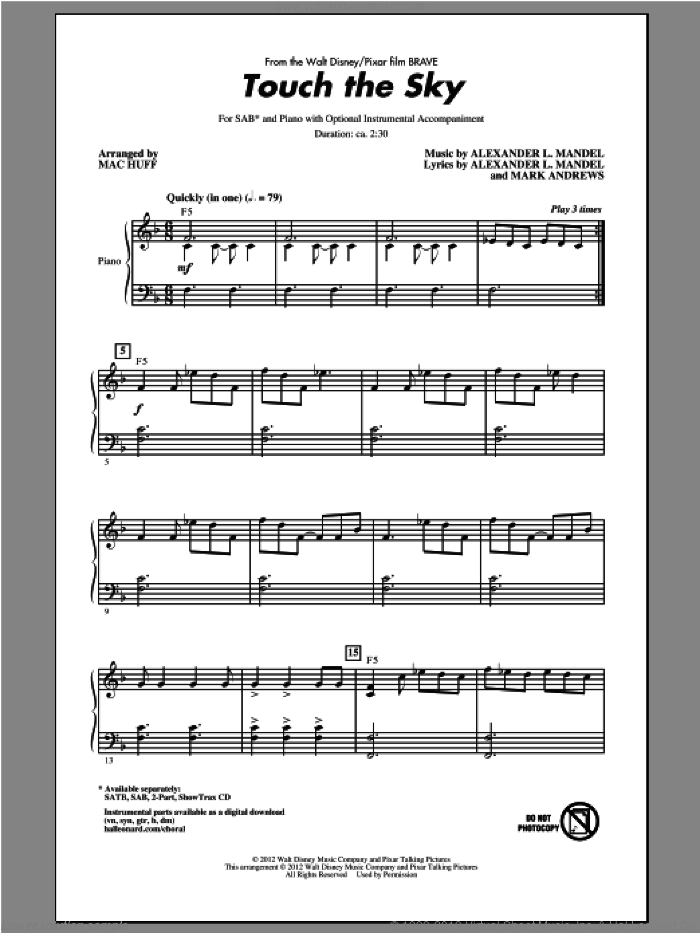 Touch The Sky sheet music for choir and piano (SAB) by Alexander L. Mandel, Mac Huff and Mark Andrews
