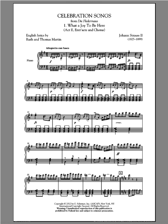 What A Joy To Be Here sheet music for choir and piano by Johann Strauss, Jr.