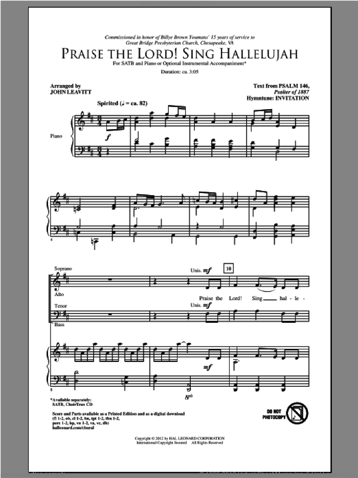 Praise The Lord! Sing Hallelujah sheet music for choir (SATB) by John Leavitt. Score Image Preview.