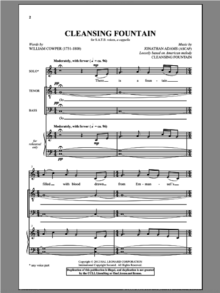 There Is A Fountain sheet music for choir and piano (SATB) by Jonathan Adams and William Cowper. Score Image Preview.
