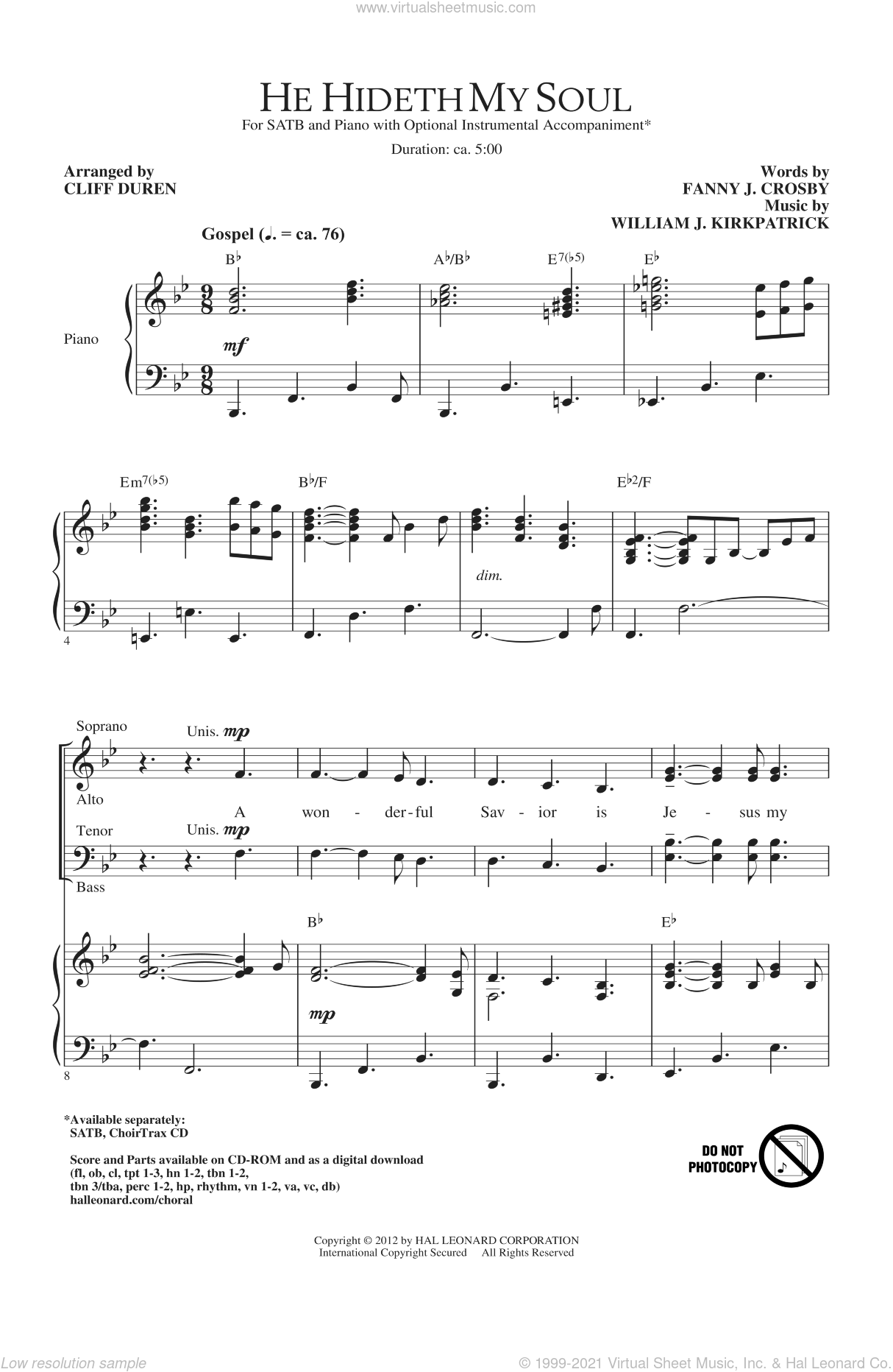 He Hideth My Soul sheet music for choir (SATB) by Fanny Crosby, Cliff Duren and William J. Kirkpatrick. Score Image Preview.