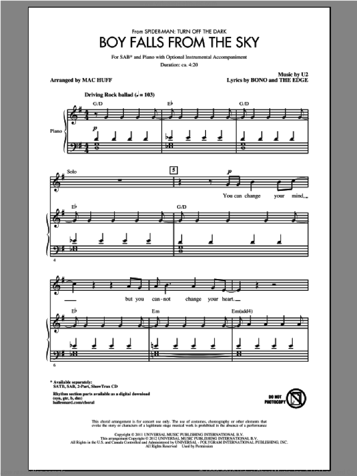Boy Falls From The Sky sheet music for choir (SAB: soprano, alto, bass) by U2, Bono, The Edge and Mac Huff, intermediate skill level