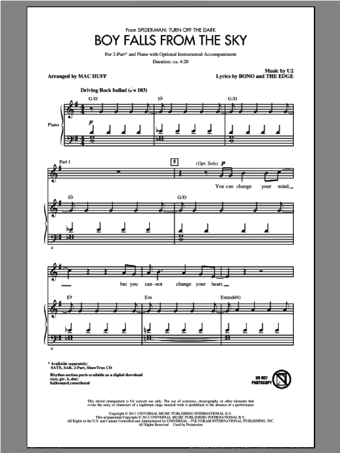 Boy Falls From The Sky sheet music for choir and piano (duets) by Bono, Mac Huff, The Edge and U2. Score Image Preview.