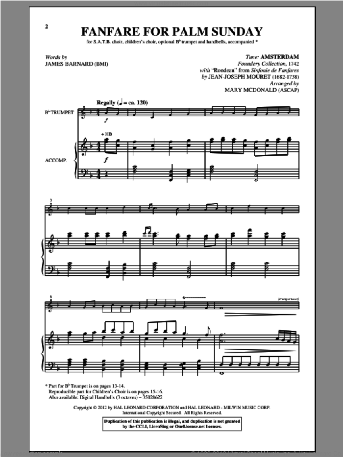 Fanfare For Palm Sunday sheet music for choir and piano (SATB) by Mary McDonald