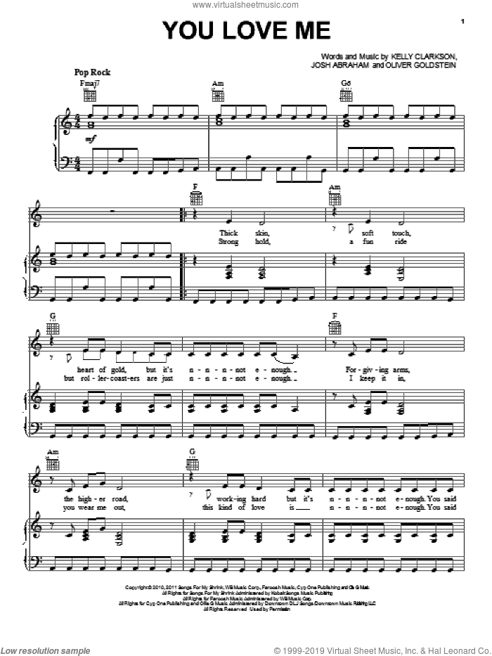 You Love Me sheet music for voice, piano or guitar by Oliver Goldstein