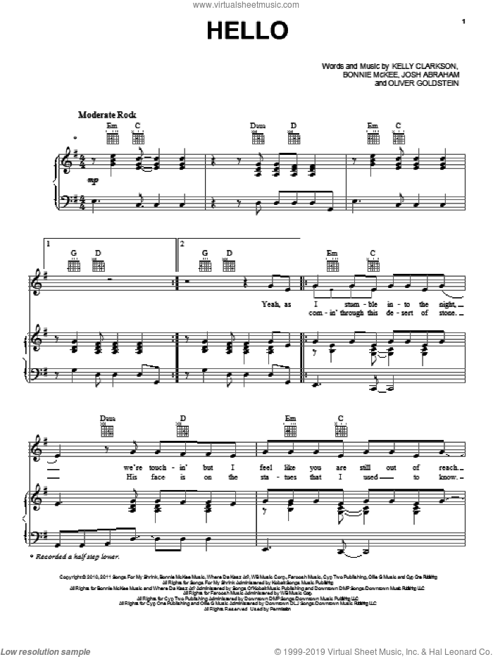 Hello sheet music for voice, piano or guitar by Kelly Clarkson and Bonnie McKee. Score Image Preview.
