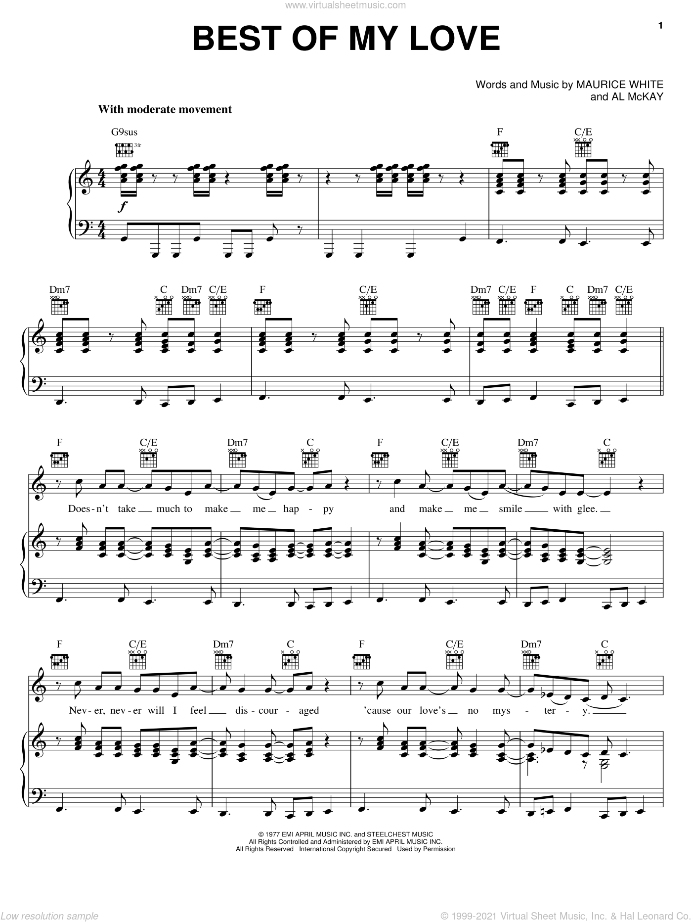 Best Of My Love sheet music for voice, piano or guitar by The Emotions, intermediate. Score Image Preview.