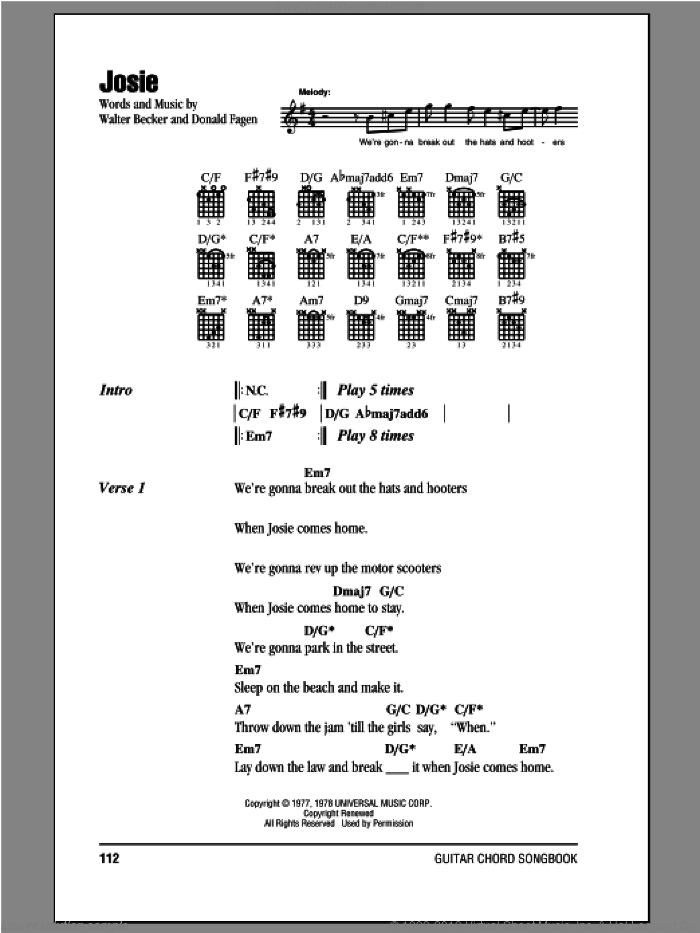 Josie sheet music for guitar (chords) by Walter Becker and Donald Fagen. Score Image Preview.