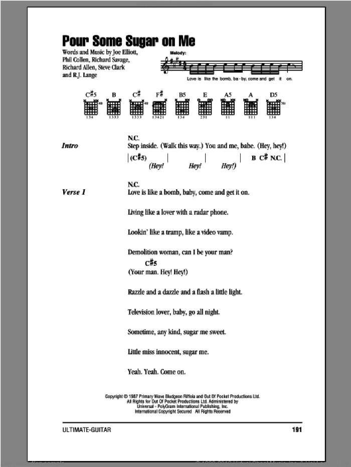 Pour Some Sugar On Me sheet music for guitar (chords, lyrics, melody) by Def Leppard