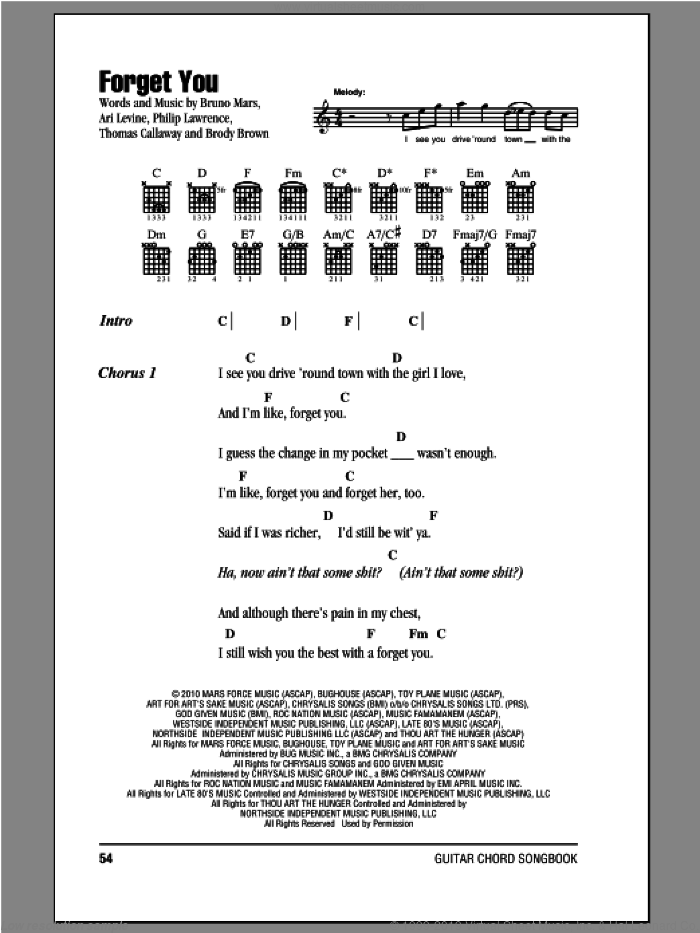 Forget You sheet music for guitar (chords) by Cee Lo Green and Bruno Mars. Score Image Preview.