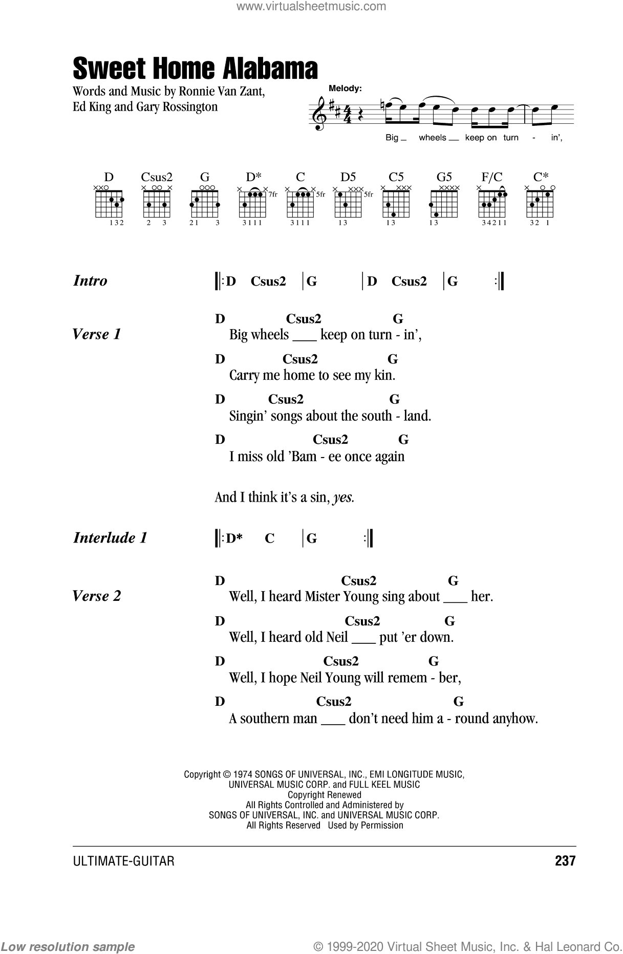 Sweet Home Alabama sheet music for guitar (chords) by Lynyrd Skynyrd. Score Image Preview.