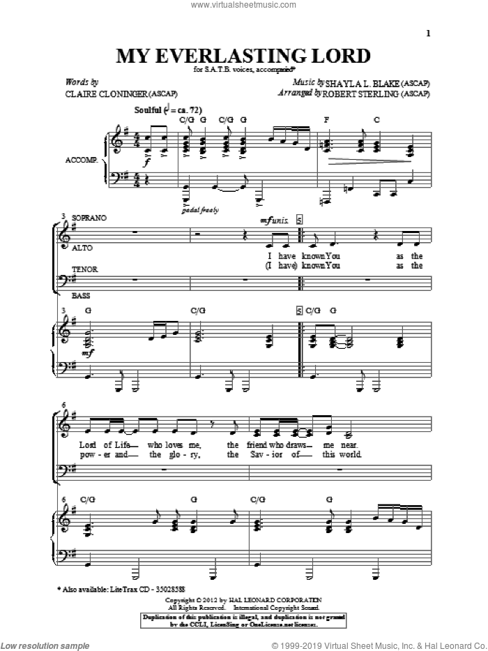 My Everlasting Lord sheet music for choir (SATB: soprano, alto, tenor, bass) by Shayla Blake, Claire Cloninger and Robert Sterling, intermediate