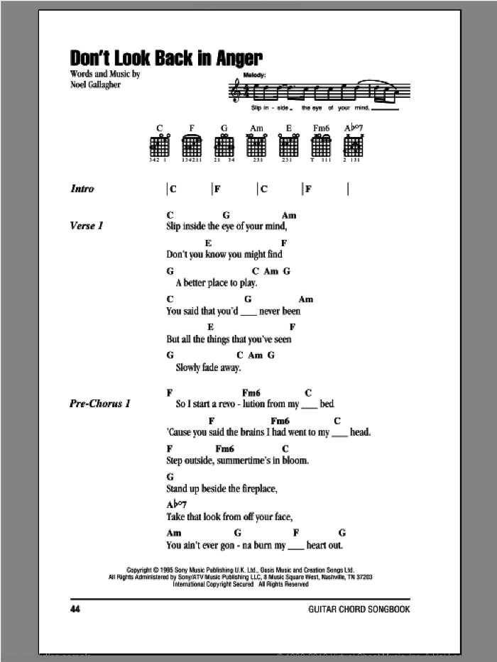 Don't Look Back In Anger sheet music for guitar (chords) by Noel Gallagher and Oasis. Score Image Preview.