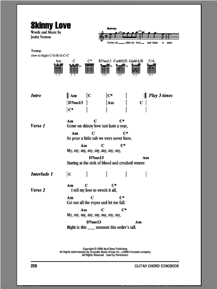 Skinny Love sheet music for guitar (chords, lyrics, melody) by Justin Vernon