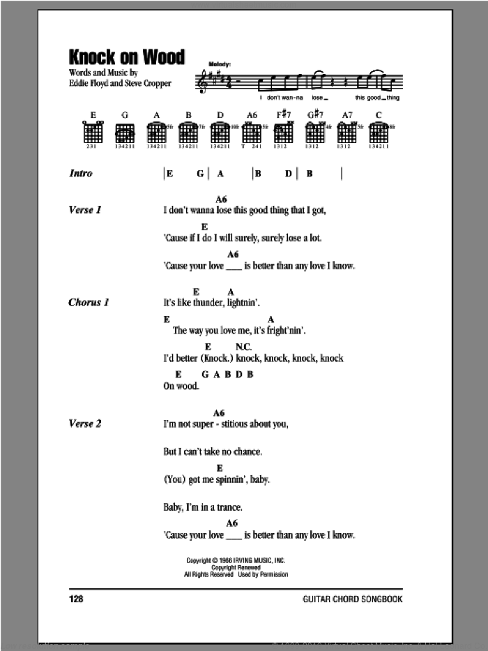 Knock On Wood sheet music for guitar (chords) by Otis Redding, Eddie Floyd and Steve Cropper. Score Image Preview.