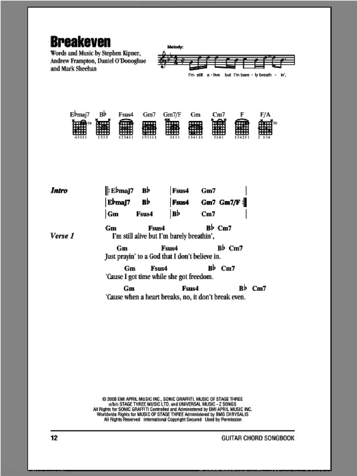Breakeven sheet music for guitar (chords) by The Script. Score Image Preview.