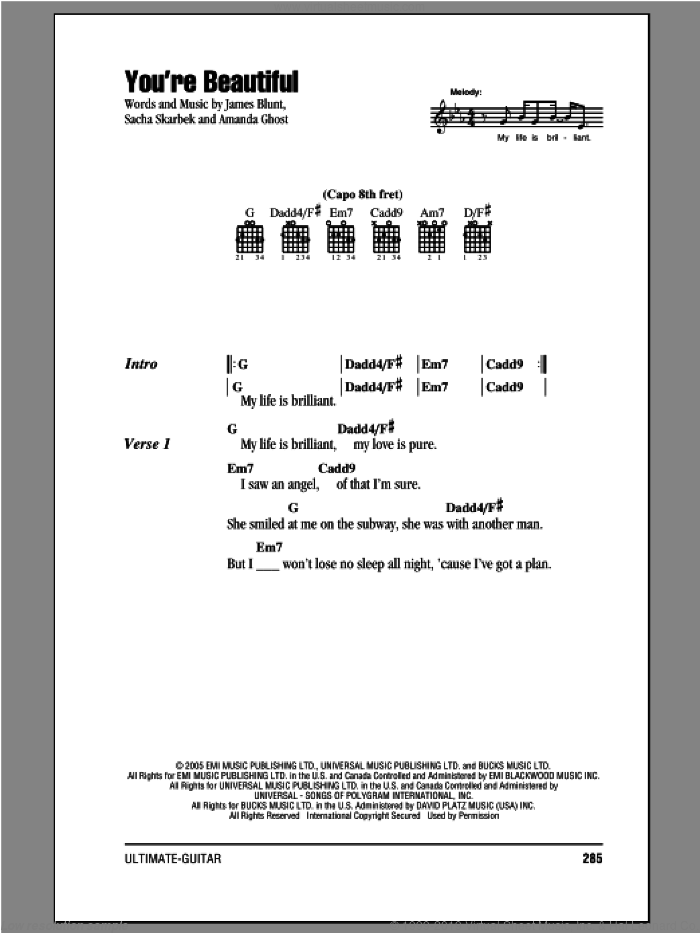 You're Beautiful sheet music for guitar (chords) by James Blunt, Amanda Ghost and Sacha Skarbek, intermediate. Score Image Preview.