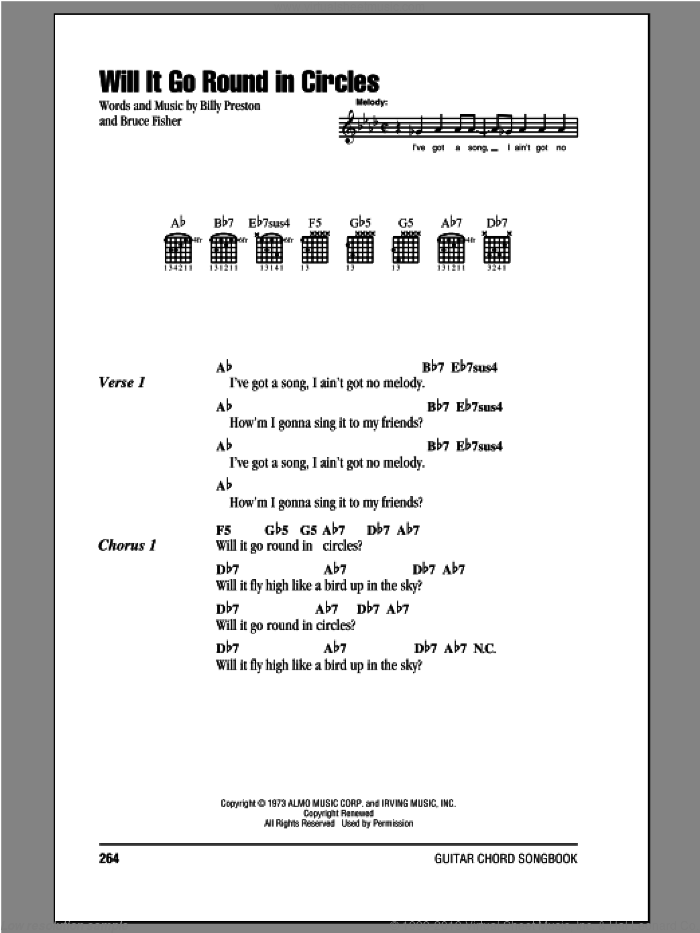 Will It Go Round In Circles sheet music for guitar (chords) by Bruce Fisher and Billy Preston. Score Image Preview.