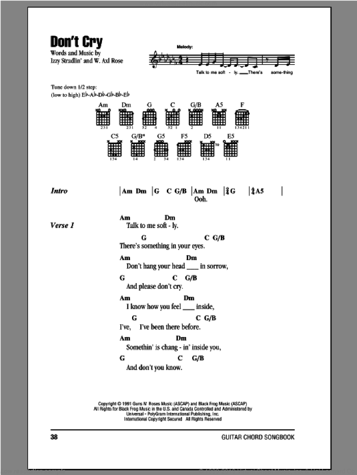 Don't Cry sheet music for guitar (chords, lyrics, melody) by Axl Rose